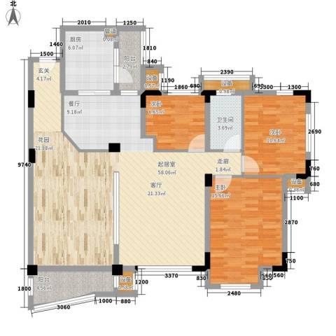 华南碧桂园别墅3室0厅1卫1厨125.00㎡户型图