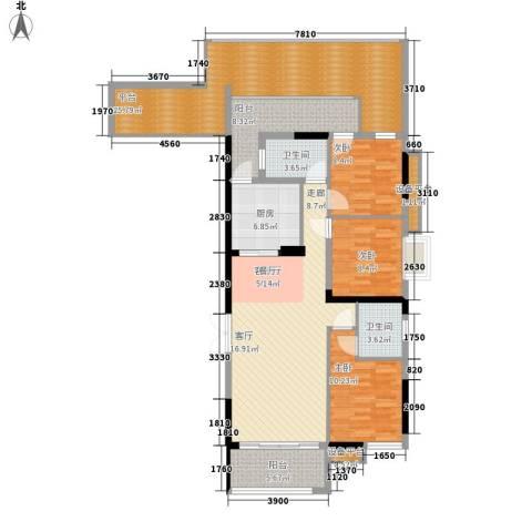 珠江都荟3室1厅2卫1厨129.00㎡户型图