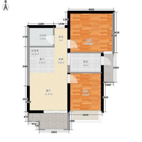 长安大街三号2室0厅1卫1厨75.00㎡户型图