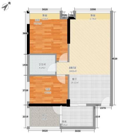 越秀上品轩2室0厅1卫1厨74.00㎡户型图