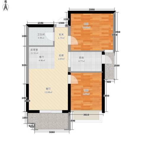 长安大街三号2室0厅1卫1厨77.00㎡户型图