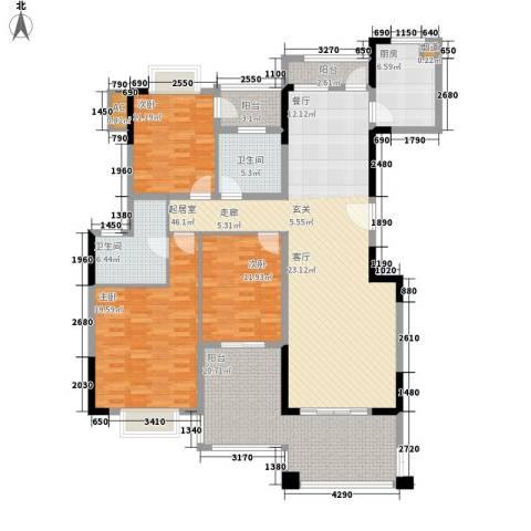 翰林国际3室0厅2卫1厨155.00㎡户型图