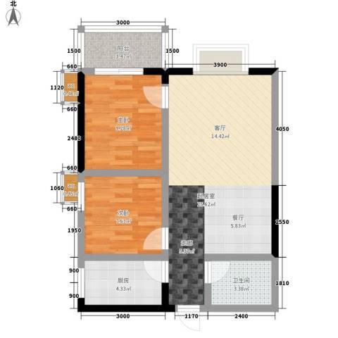和平花园2室0厅1卫1厨75.00㎡户型图