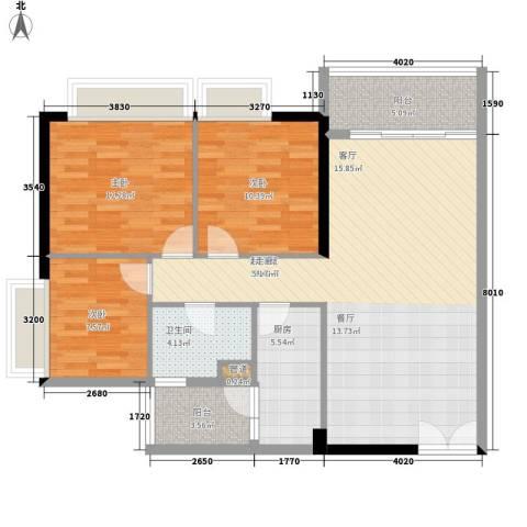 越秀上品轩3室0厅1卫1厨95.00㎡户型图