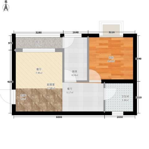 西化小区1室0厅1卫1厨63.00㎡户型图