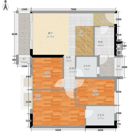 云景名都3室0厅2卫1厨78.94㎡户型图