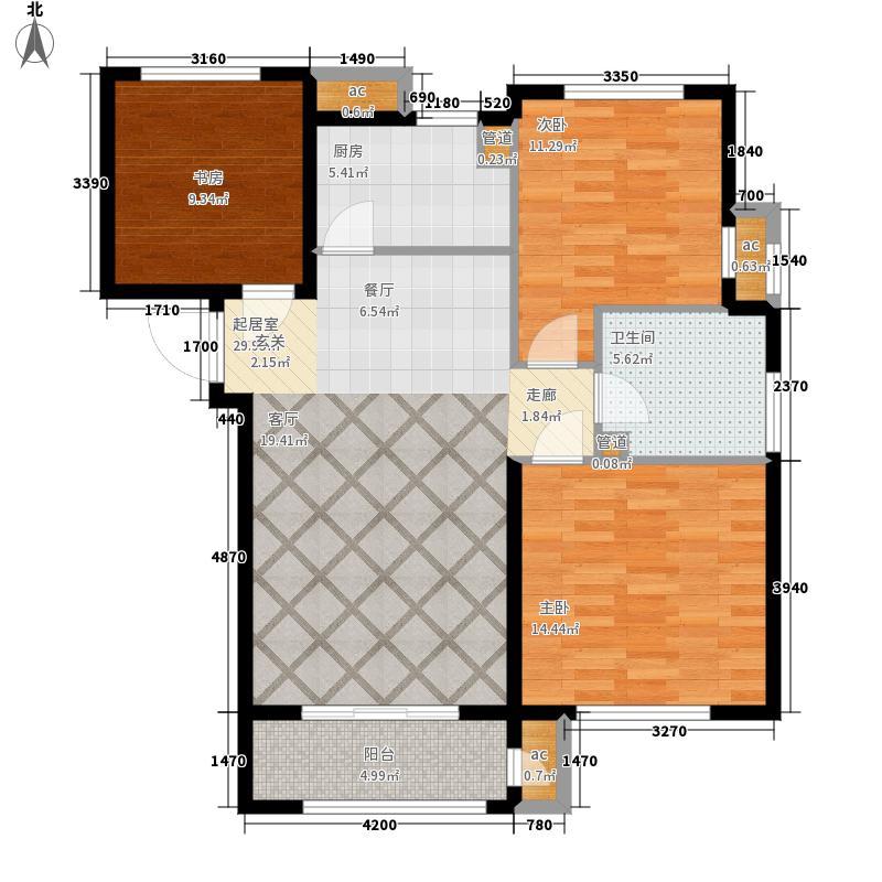 首创大河宸章96.00㎡高层标准层B户型3室2厅