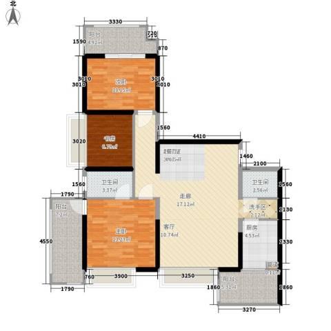 长安大街三号3室0厅2卫1厨119.00㎡户型图