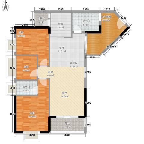 紫茗花园3室1厅2卫1厨105.08㎡户型图