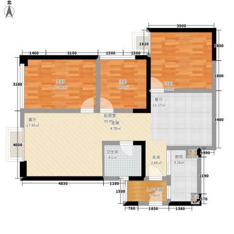 东方希望天祥广场天荟3室0厅1卫1厨107.00㎡户型图