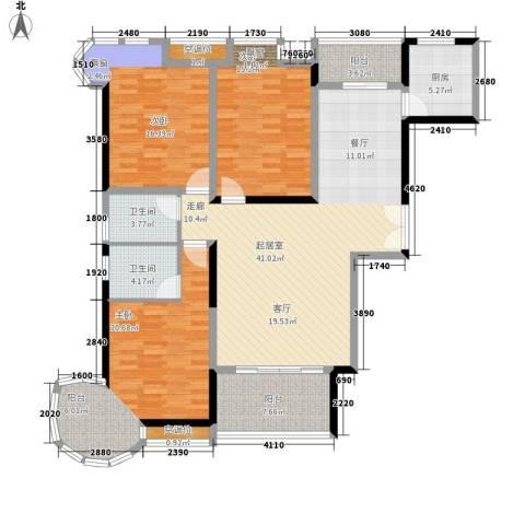香缇溪岸3室0厅2卫1厨137.00㎡户型图