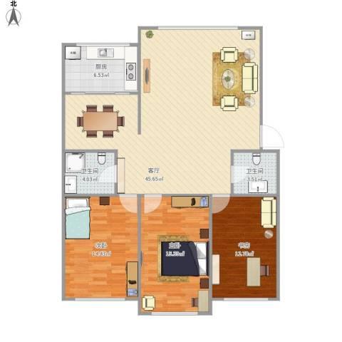 金盛家园3室1厅2卫1厨136.00㎡户型图