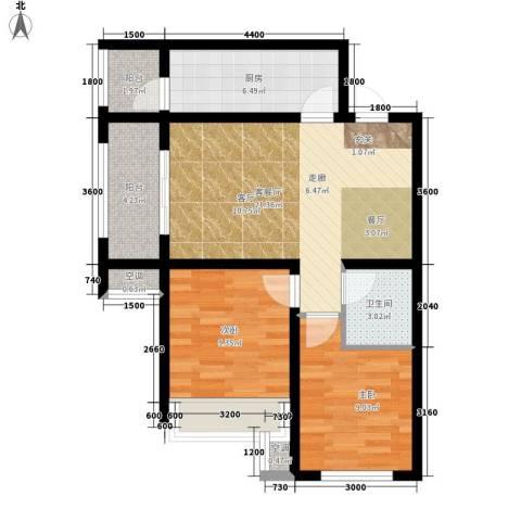 五琴花园2室1厅1卫1厨84.00㎡户型图