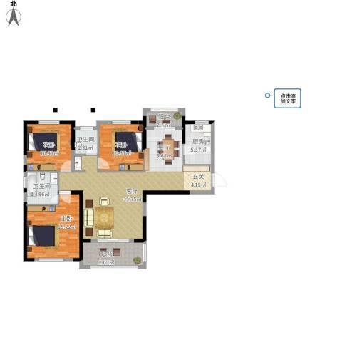 统建天成美雅3室1厅2卫1厨140.00㎡户型图
