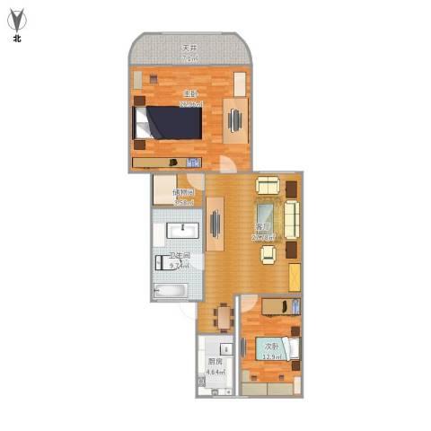 虹城公寓2室1厅1卫1厨122.00㎡户型图