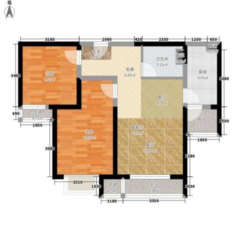 五琴花园2室1厅1卫1厨90.00㎡户型图
