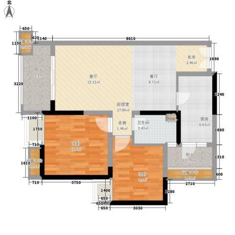 天悦府2室0厅1卫1厨87.00㎡户型图