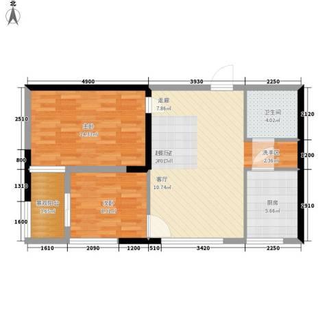 长安大街三号2室0厅1卫1厨68.00㎡户型图
