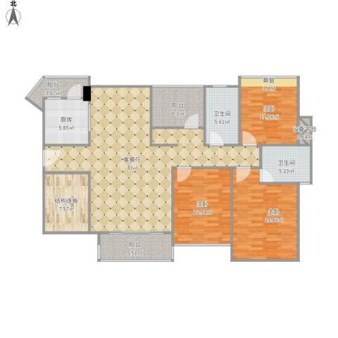 幸福港湾.jpg3室1厅2卫1厨166.00㎡户型图