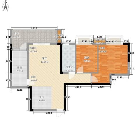 珠江都荟2室1厅1卫1厨87.00㎡户型图