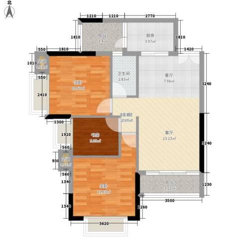 越秀上品轩3室0厅1卫1厨109.00㎡户型图
