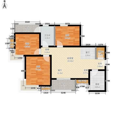 中华世纪城3室0厅1卫1厨106.00㎡户型图
