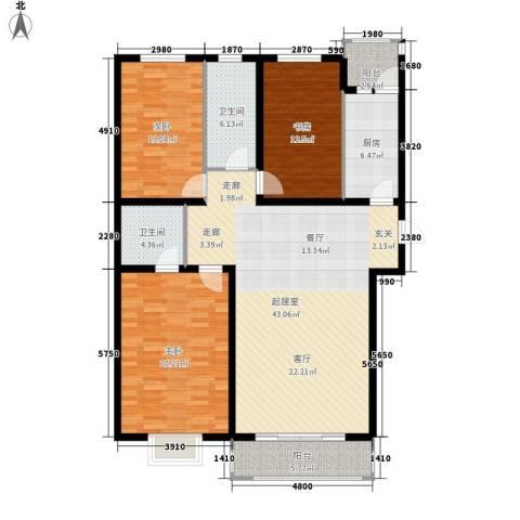 安联水晶城3室0厅2卫1厨131.00㎡户型图