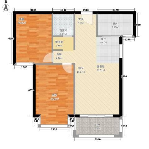 凤凰新城2室1厅1卫1厨96.00㎡户型图