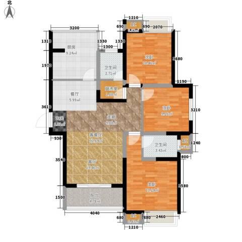 双维花溪湾3室1厅2卫1厨121.00㎡户型图
