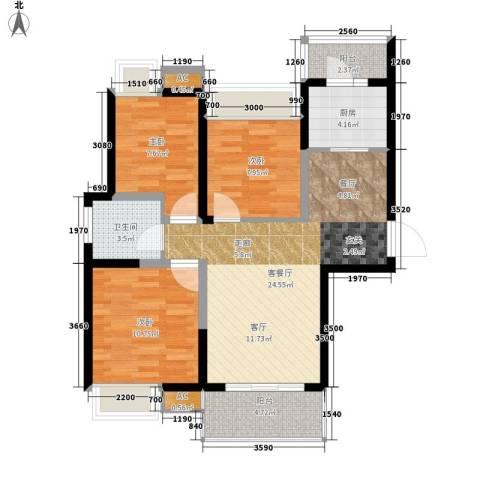双维花溪湾3室1厅1卫1厨120.00㎡户型图