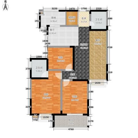 桐树湾3室0厅2卫1厨134.35㎡户型图