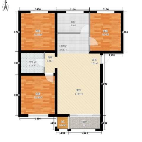首府国际公馆3室0厅1卫1厨112.00㎡户型图