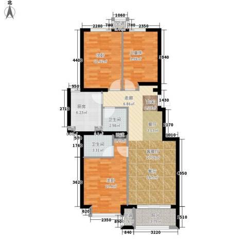 桥机嘉园3室1厅2卫1厨115.00㎡户型图
