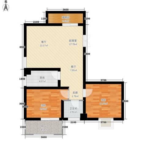 汇豪星河苑2室0厅1卫1厨87.00㎡户型图