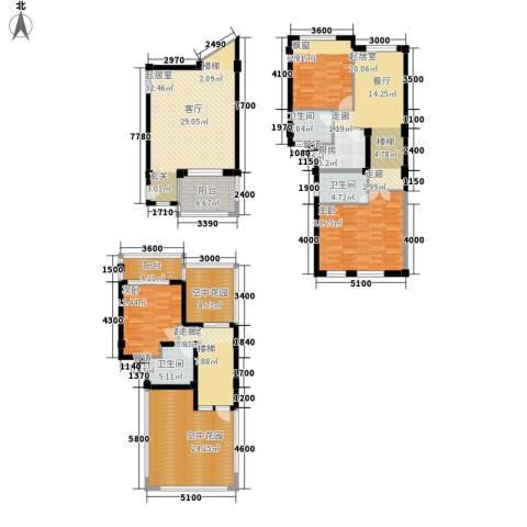 兰桥尚舍3室0厅3卫1厨195.35㎡户型图