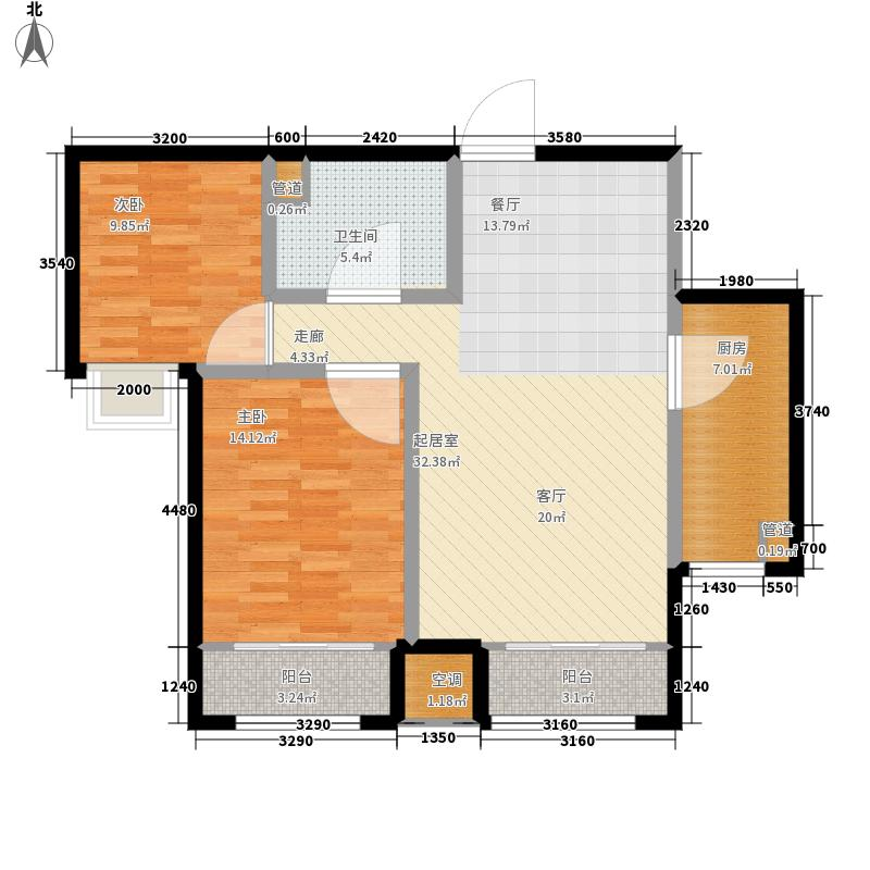 泰达汉郡90.50㎡3号楼标准层A6户型