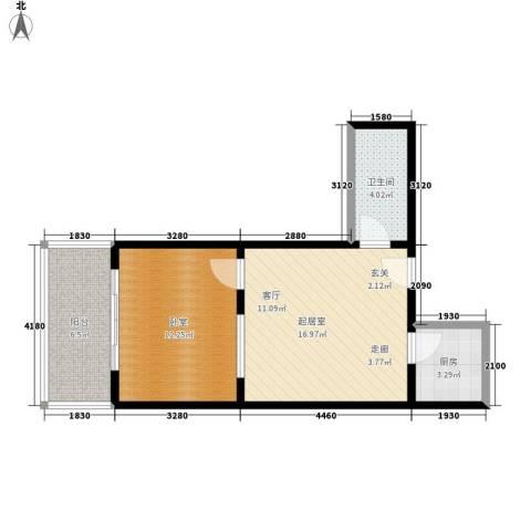 龙海方舟花园1卫1厨61.00㎡户型图