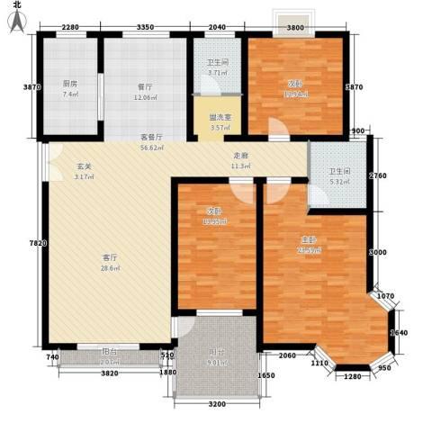 新兴翰园3室1厅2卫1厨151.52㎡户型图