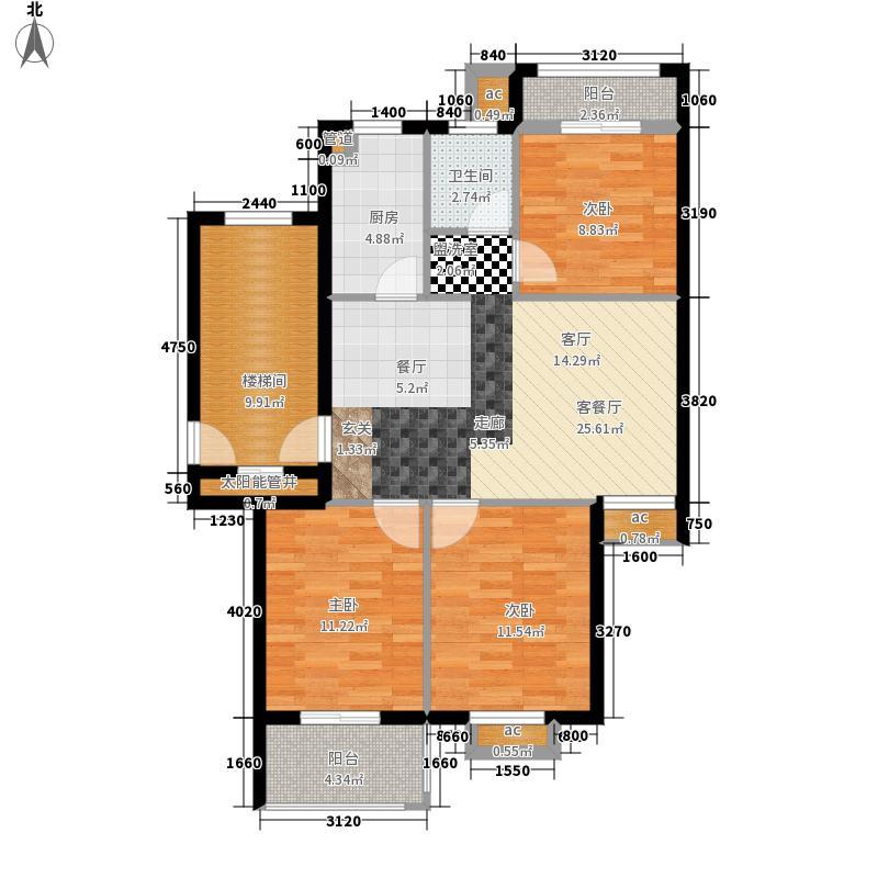 丽景花园97.40㎡户型3室2厅