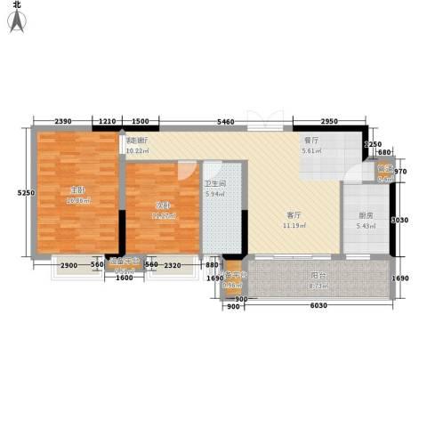 珠江都荟2室1厅1卫1厨88.00㎡户型图