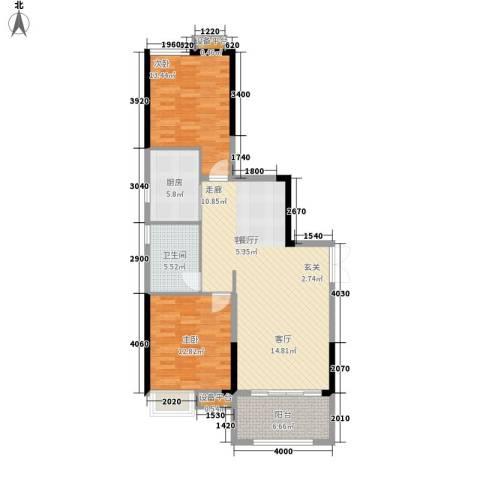 珠江都荟2室1厅1卫1厨90.00㎡户型图