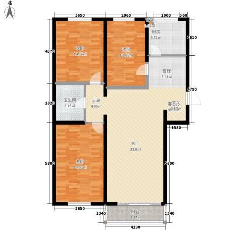 金川新城3室1厅1卫1厨122.00㎡户型图