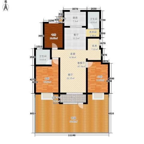 水印莱茵3室1厅2卫1厨233.00㎡户型图
