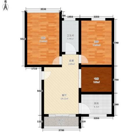 红山派出所宿舍3室1厅1卫1厨85.00㎡户型图