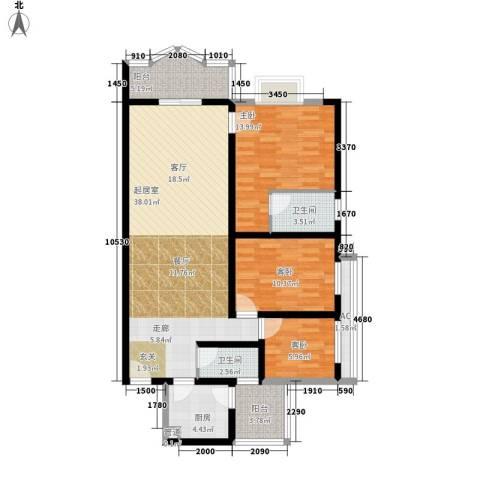 云景花园云枫苑3室0厅2卫1厨104.00㎡户型图