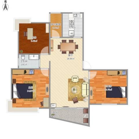 金碧汇虹苑3室1厅1卫1厨106.00㎡户型图