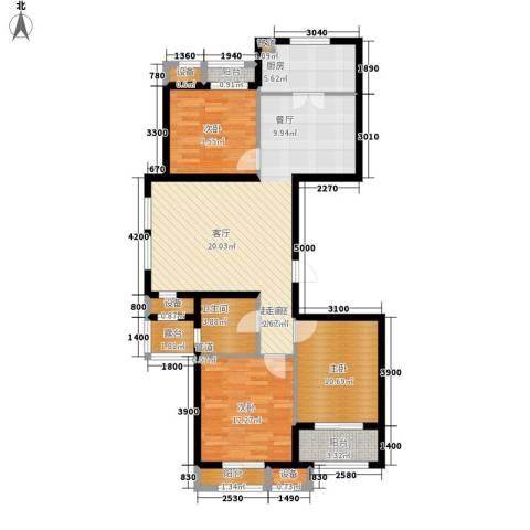 蓝海国际3室0厅1卫1厨123.00㎡户型图