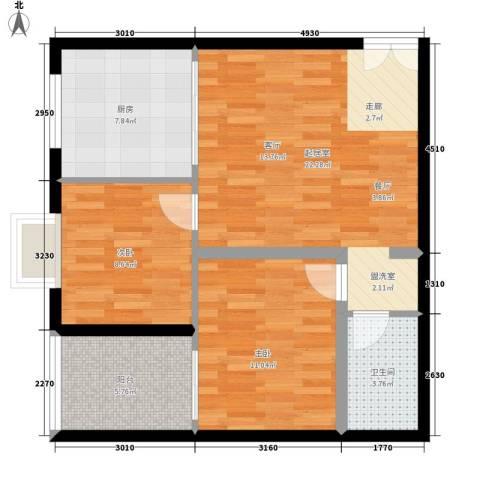 中菲香槟城2室0厅1卫1厨84.00㎡户型图