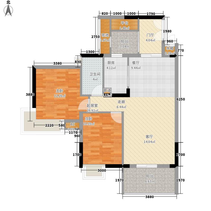广州富力城89.51㎡A5栋2层3单位面积8951m户型