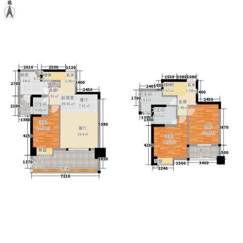 盛南领地3室0厅3卫1厨139.00㎡户型图
